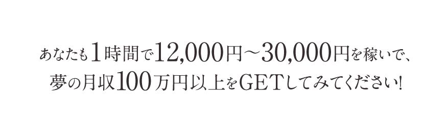 あなたも1時間で12,000円~30,000円を稼いで、夢の月収100万円以上をGETしてみてください!